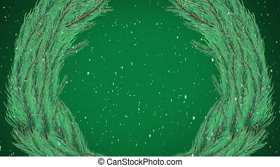 Digital animation of snow falling over christmas wreath against green background. christmas festivity celebration tradition concept