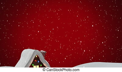Digital animation of snow falling over house on winter landscape against red background