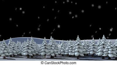 Digital animation of snow falling over multiple trees on winter landscape against black background