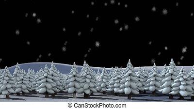 Digital animation of snow falling over multiple trees on winter landscape against black background