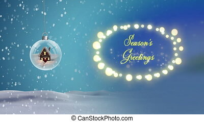 Digital animation of snow falling over seasons greetings text, fairy lights and house in glass ball hanging against winter landscape. christmas festivity celebration tradition concept