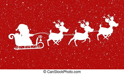 Digital animation of snow falling over  silhouette of santa claus in sleigh being pulled by reindeer