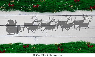 Digital animation of snow falling over silhouette of santa claus in sleigh being pulled by reindeers