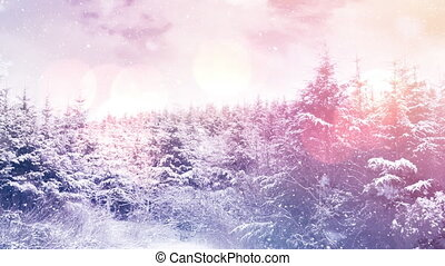 Digital animation of snow falling over trees on winter landscape