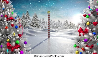 Digital animation of snow falling over two christmas trees on winter landscape