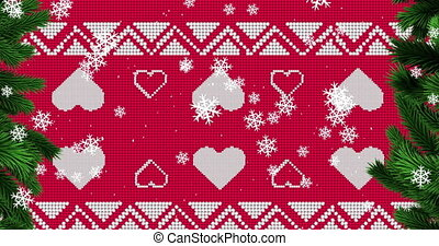 Digital animation of snow flakes falling over red christmas traditional pattern. christmas festivity celebration tradition concept