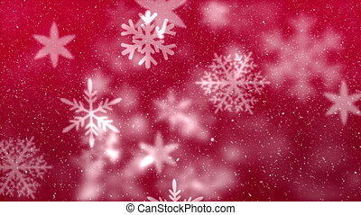 Digital animation of snowflake moving against the red background 4k
