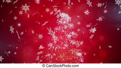 Digital animation of snowflakes falling against christmas tree on red background