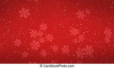 Digital animation of snowflakes falling against red background 4k