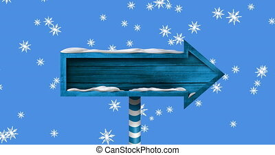 Digital animation of snowflakes falling over blue wooden arrow shaped sign post against blue background. christmas festivity celebration tradition concept