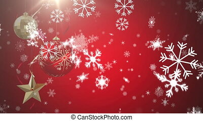 Digital animation of snowflakes falling over christmas star and bauble decorations hanging against red background. christmas festivity celebration tradition concept