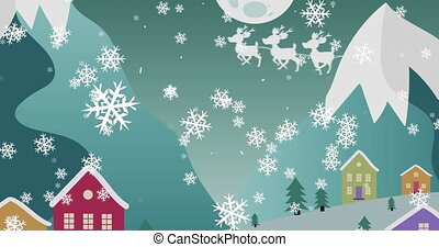 Digital animation of snowflakes falling over santa claus in sleigh being pulled by reindeers