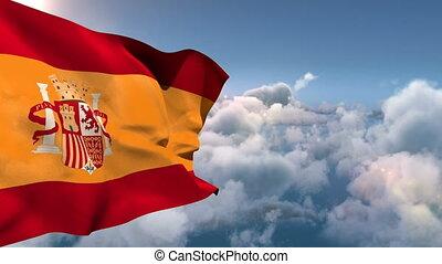 Spain national flag floating