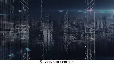 Digital animation of spot of light blinking over Data processing against cityscape. Global networking and connection concept