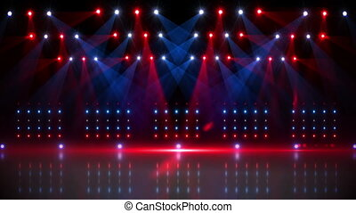 Stage under red and blue spotlights - Digital animation of ...