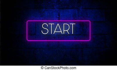 Digital animation of start text in neon rectangle frame against blue brick wall in background. video game computer interface concept