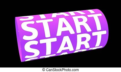 Digital animation of START word rotating on animated CG cylinder shape with purple pattern. 3D rendering.