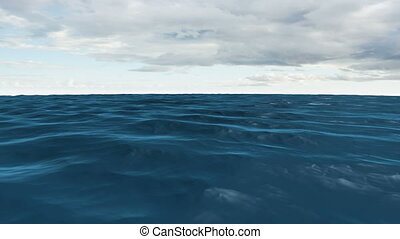 Still blue ocean under cloudy sky