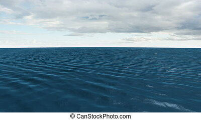 Still blue ocean under cloudy sky - Digital animation of...