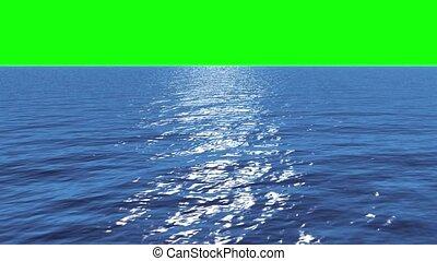 Digital animation of Still blue ocean under green screen sky...