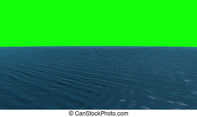 Still blue ocean under green screen - Digital animation of...