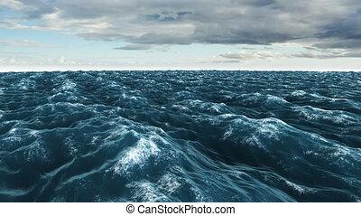 Stormy blue ocean under dark sky