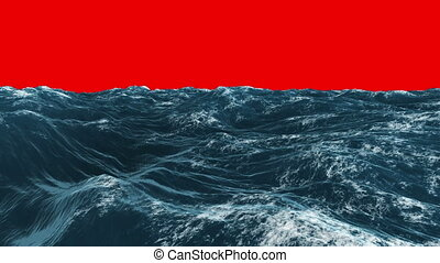 Stormy blue ocean under red screen - Digital animation of...
