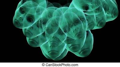 Digital animation of surreal alien heads