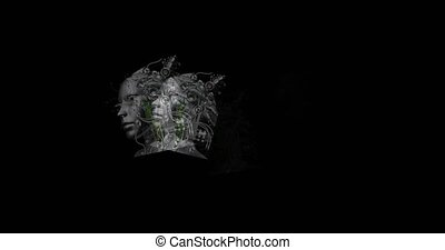 Digital animation of surreal cyborg heads