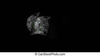 Digital animation of surreal cyborg heads