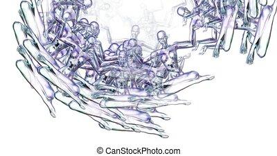 Digital animation of surreal meditating females
