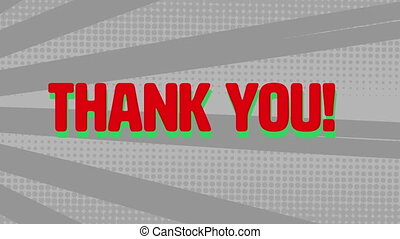 Digital animation of thank you text against radial grey background. computer interface and typography concept
