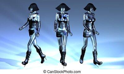 Digital Animation of three walking