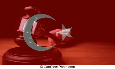 Digital animation of Turkey flag. Judge banging gavel on sounding block 4k