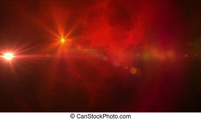 Digital animation of two bright spots of light moving against red smoke effect on black background