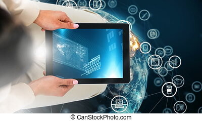 Digital animation of woman holding digital tablet showing digital interface 4k