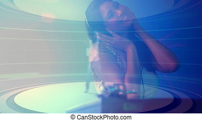 Digital animation of woman playing sound mixer in nightclub. Female dancer dancing in the background 4k