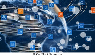 Digital app icons and globe - Digital animation of ...