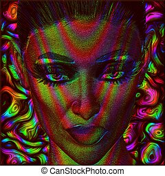 Digital art image of woman's face