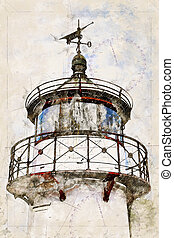 Digital artistic Sketch of a Lighthouse on Ruegen in Germany