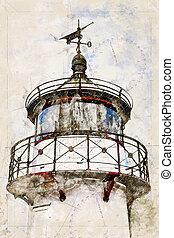 Digital artistic Sketch of a Lighthouse on Ruegen in Germany...