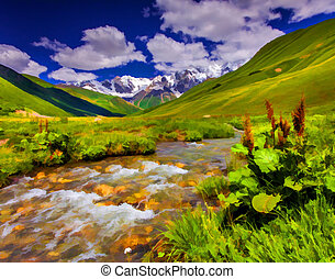Fantastic landscape with a river in the mountains. - Digital...