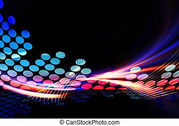 Digital Audio Equalizer - A glowing graphic digital audio...