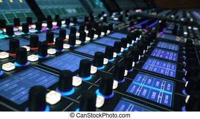 Digital audio production console. Mixing Board. Recording studios.