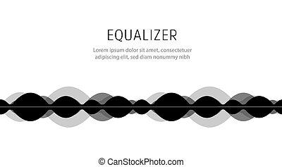 Digital audio spectrum. Futuristic equalizer illustration. Music beat. High frequency vibrations waveform icon.