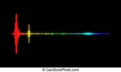 digital audio spectrum sound wave effect, black background