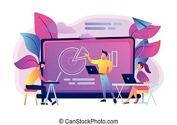 digital, aula, vector, illustration., concepto