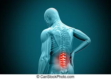 digital, azul, humano, frotamiento, destacado, dolor de espalda