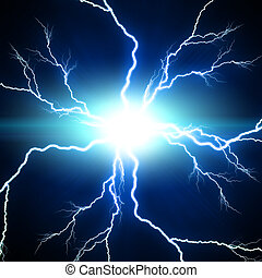 Digital background Electric flash of lightning on a blue ...