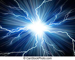 Digital background Electric flash of lightning on a blue background